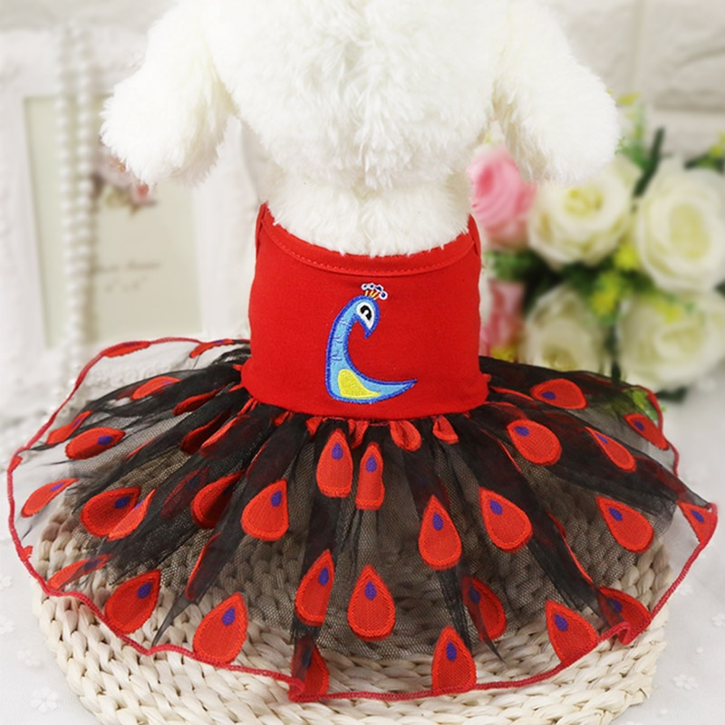 ¡Novedad! vestido de verano para perros, ropa para mascotas y gatos, vestido de moda de pavo real, vestido de Organza, falda para mascotas, vestido de boda para perros pequeños/medianos 20s2
