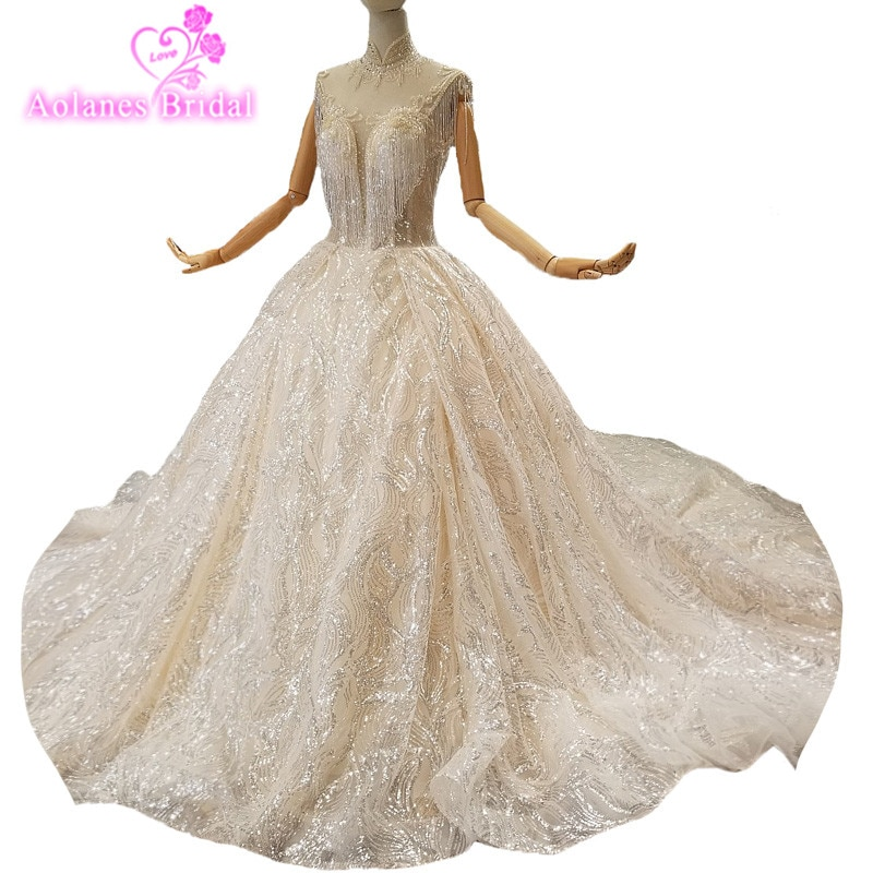 2018 de lujo Bling de encaje Champagne lentejuelas cuentas perla sin mangas cariño Catedral tren vestido de Boda nupcial vestido