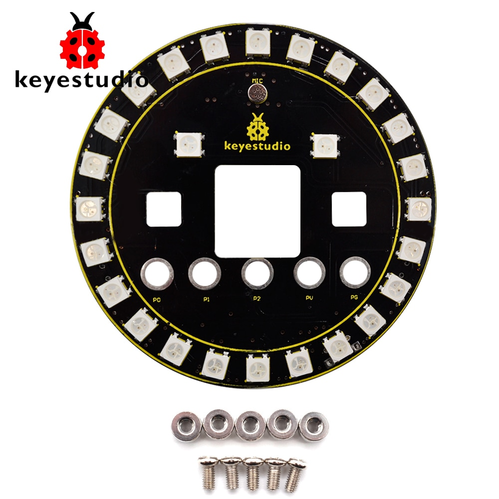 Keyestudio 6812 Placa de protección de anillo LED RGB a todo color para Micro bit