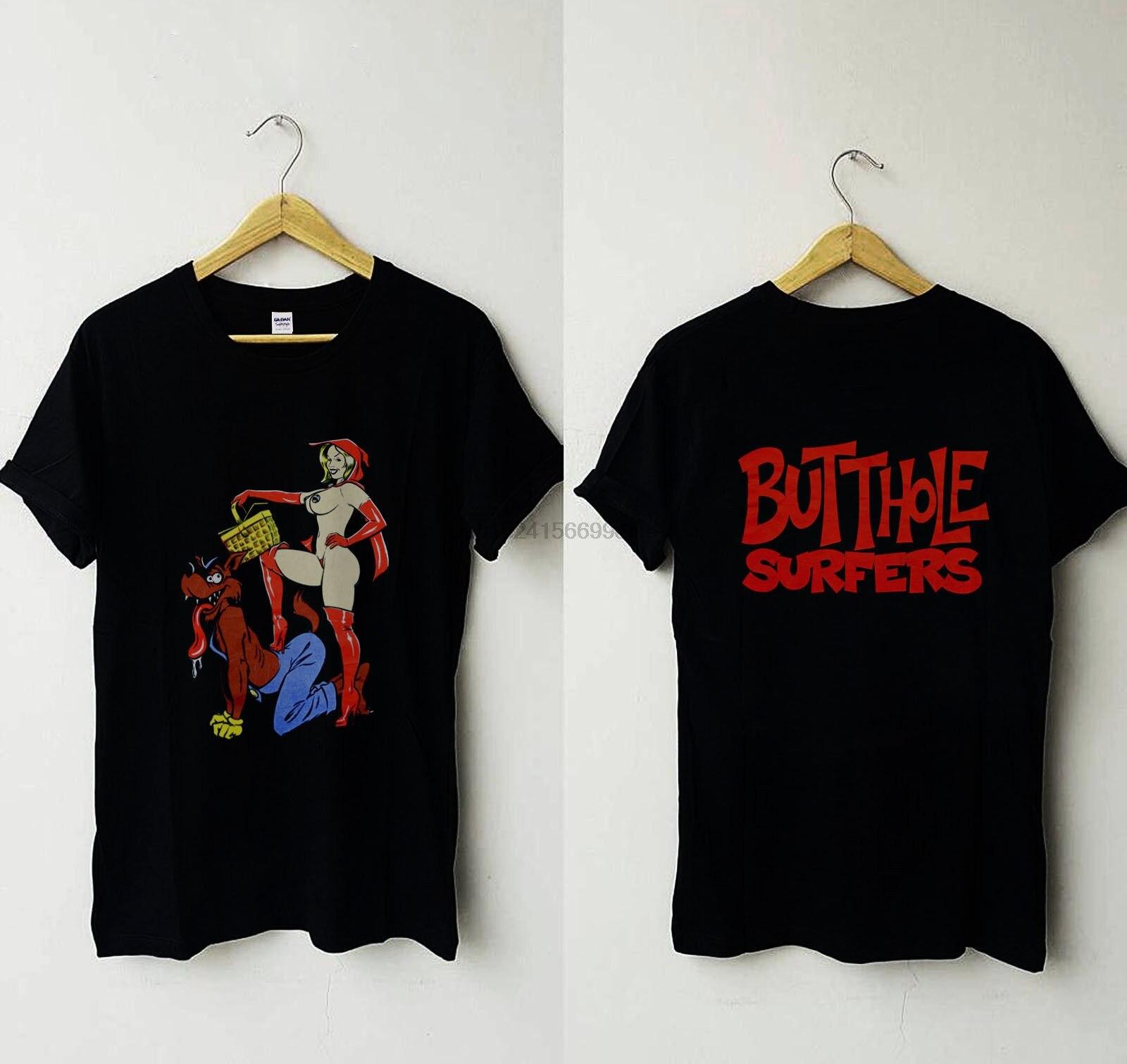Butthole, camiseta para hombre, Vintage 1990s, Caperucita Roja, Reimpresión de lobo malo grande
