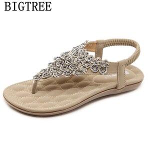 Rhinestone Sandals Fashion Bohemian Sandals Gladiator Sandals Women Summer Shoes Woman Ayakkabi Sandalias De Verão As Mulheres