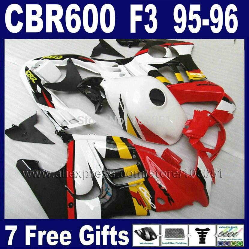 طقم انسيابية للدراجات النارية OEM مخصص ، لهوندا CBR600 F3 1995 1996 CBR 600 F3 CBR600F3 96 95 ، أحمر ، أبيض ، أسود ، مجموعات هدية وغطاء الخزان