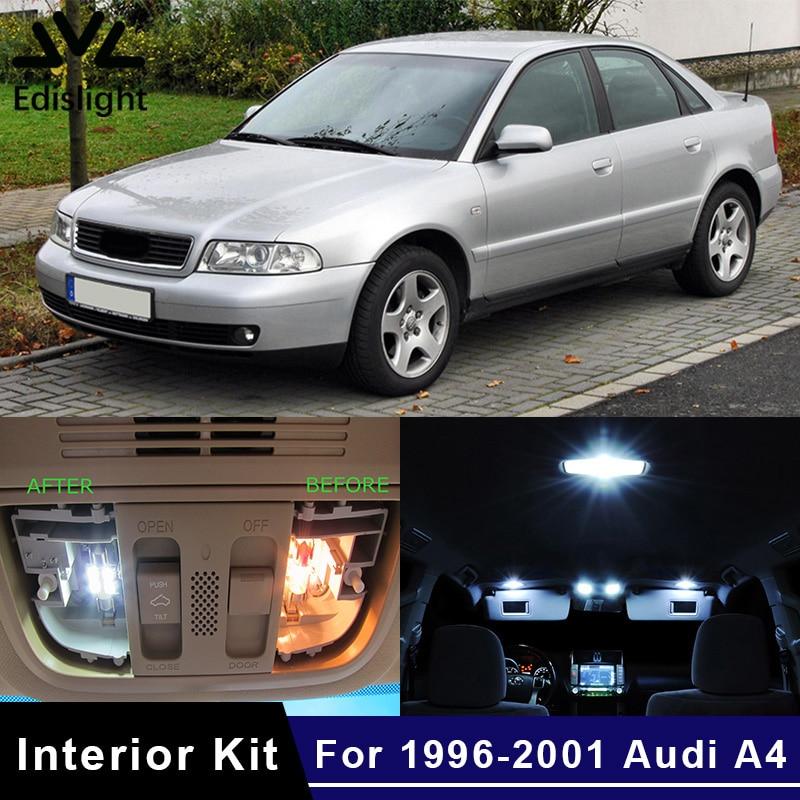 Светодиодные лампы Edislight, 17 шт., белые, ледяной синий цвет, автомобильные лампы canbus, комплект для салона автомобиля, для Audi A4 B5, 2004-2011