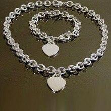 Silber 925 Schmuck Set für Frauen Mode Herz Charm Armband Halsketten 2 stücke Party Hochzeit Kostüm Schmuck Sets Feine Bijoux