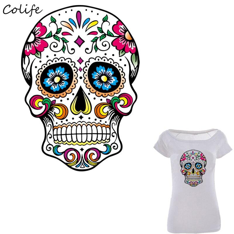 Parches de calavera de azúcar mexicana impresos en camiseta accesorio para decoración DIY parches lavables de nuevo diseño para ropa 26x19cm