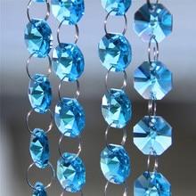 5Meters/Lot Aquamarine Color Hanging Crystal Wedding Decoration Christmas Beads Garland Glass Strand