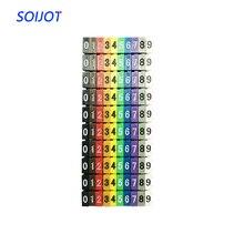 100 unids/lote 0-9 0123456789 0.75mm2-6mm2 números árabes M tipo CAT 6 Clip red Cable Ethernet número etiqueta tubo Cable marcador