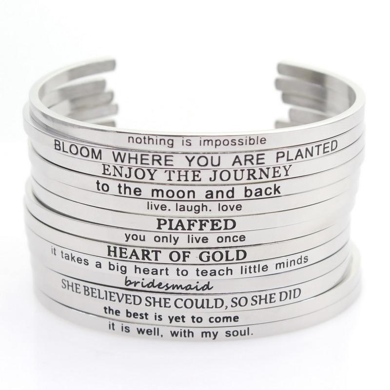 Brazalete de plata y acero inoxidable de 10 Uds. Grabado al azar con cita de inspiración positiva brazalete Mantra estampado a mano para hombres y mujeres