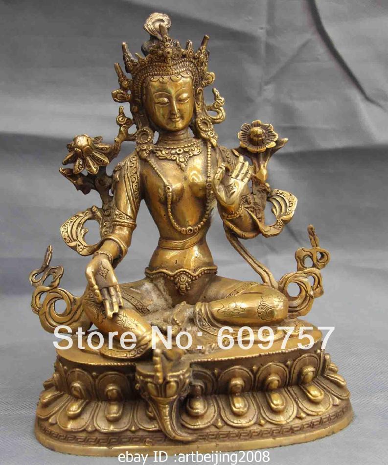 Chinese Folk templo Cobre Bronce kwan-yin Bodhisattva GuanYin Tara Verde Estatua arte regalo 100% de cobre Genuina