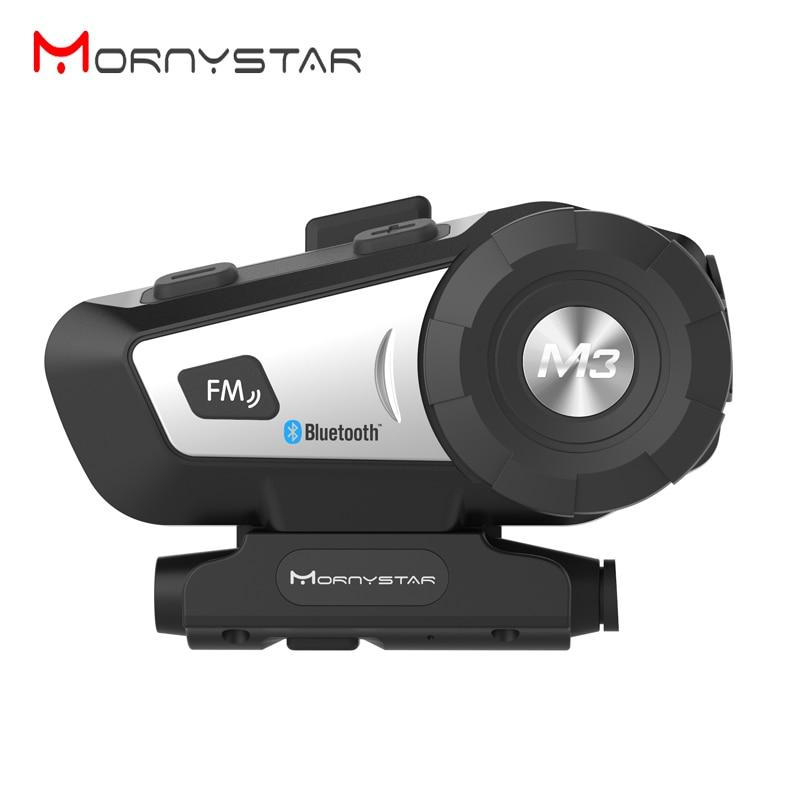 Bluetooth-гарнитура Mornystar M3 Plus для мотоциклетного шлема, fm-интерком + мягкий микрофон для шлема на все лицо