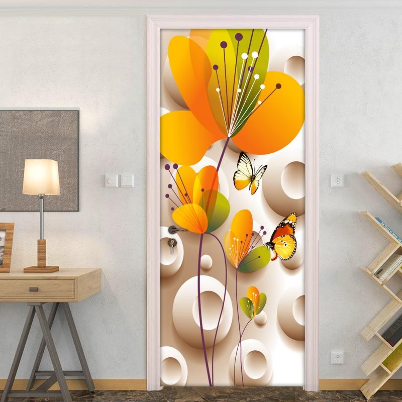 Настенные 3D стереоскопические наклейки в виде цветов и бабочки, современные, простые, DIY, Настенные обои для спальни, гостиной, двери, наклей...