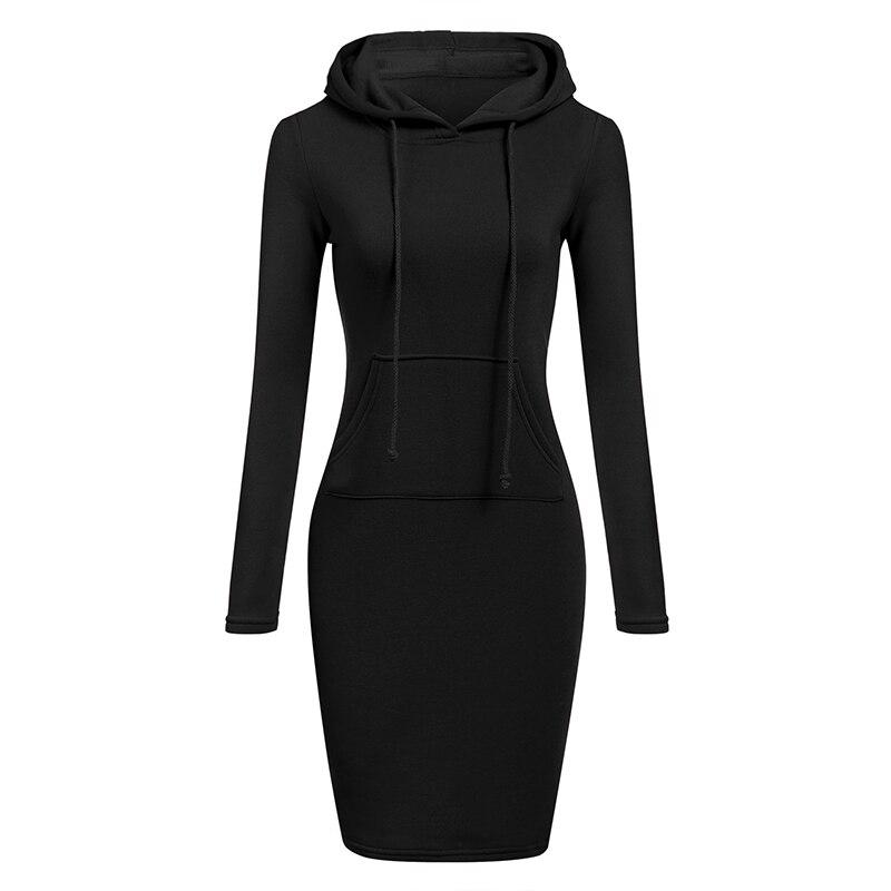 Otoño Invierno sudadera cálida de manga larga vestido de mujer ropa con capucha cuello bolsillo diseño Pullovers Simple mujer vestido 2019