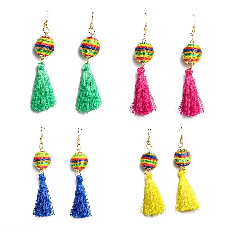 Colorido Arco Iris cuerdas trenzado bola verde rojo azul amarillo borla de hilo gota pendientes de las mujeres cuelgan los pendientes