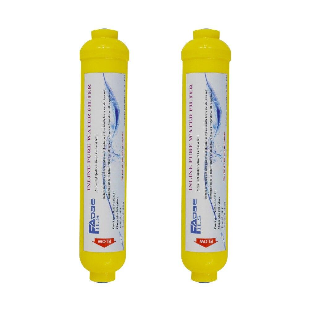 """GAC carbón de coco con KDF-55 cartucho de filtro de agua en línea, 2 """"OD x 10"""" , 1/4 """"rosca hembra (2 paquetes)"""