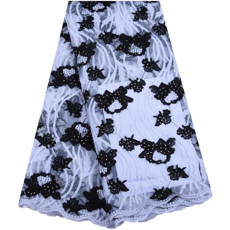 ¡Novedad! tela de encaje de gasa Africana 2019 telas de encaje nigeriano de alta calidad tela de encaje de malla de Tul francés de seda de leche 5 yardas para vestido