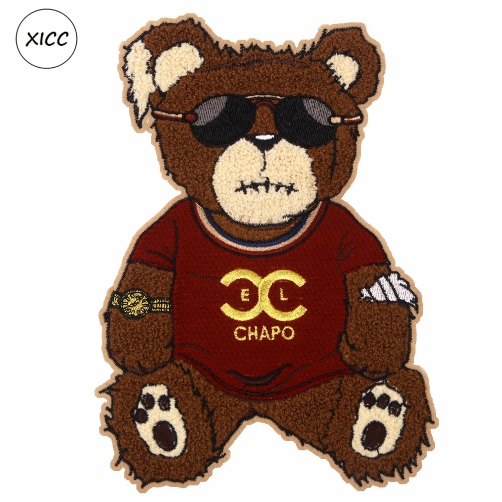 XICC Big Size Towel Embroidery Cartoon Bear Patch Custom Chenille Sew on Patch Super Cool Sunglasses