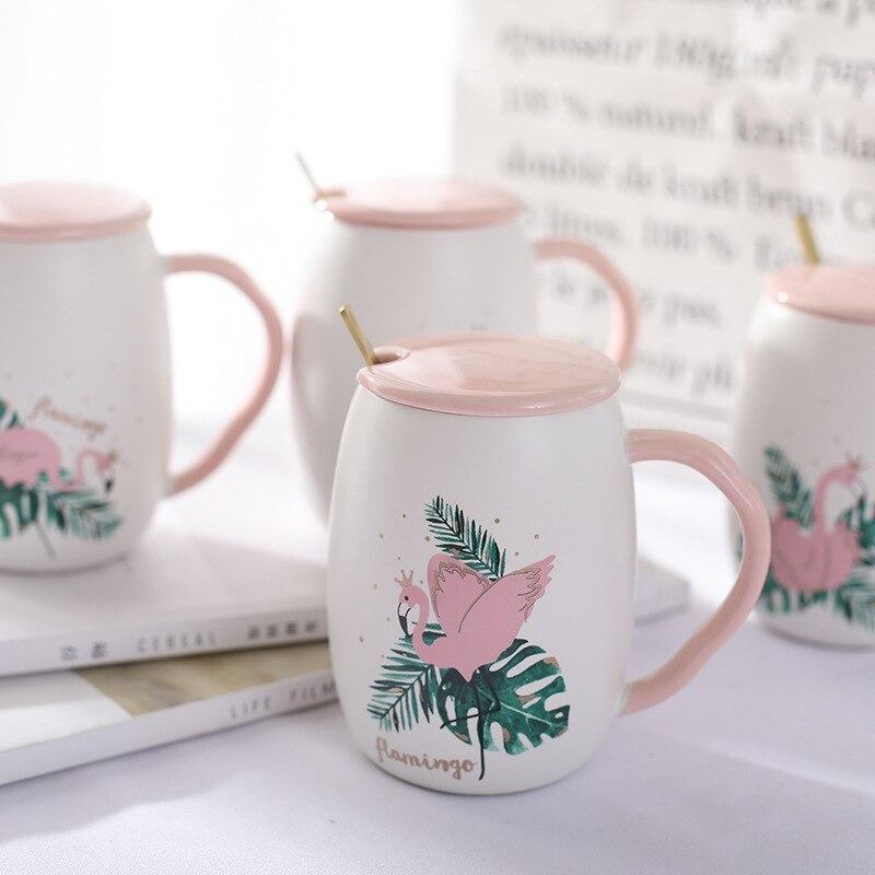 Flamencos y plantas tropicales taza de café de cerámica con tapa rosa y cuchara taza de café de porcelana para regalo de cumpleaños de té de agua