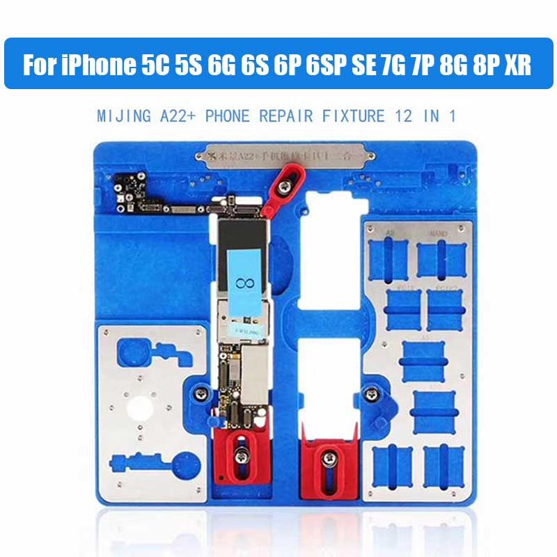 12 in 1 A22+ Logic Board Clamps for iPhone 5C 5S 6G 6S 6P 6SP SE 7G 7P 8G 8P XR Fixture Holder Fix Repair Mold BGA Repair Tool