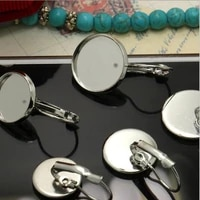 10pcs stainless steel drop earrings blank french lever earring tray cabochon setting cameo bezels base jewelry making supplies