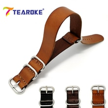 TEAROKE ZULU Leather Watchband NATO Watch Band Strap 18mm 20mm 22mm Sliver Ring Buckle Men Women High Quality Watch Accessories