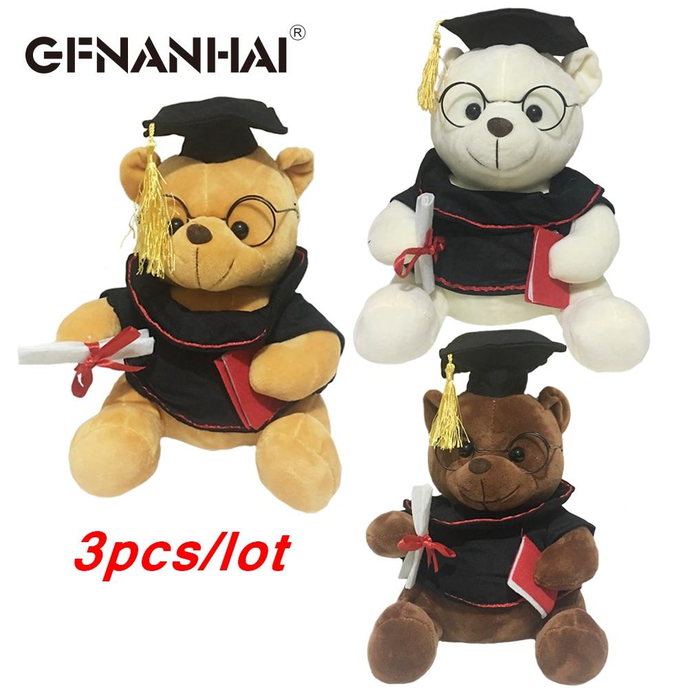 3pcs/lot hot sale Dr.cap bear plush toy cute high quality stuffed soft Teddy bear doll for children birthday graduation gift