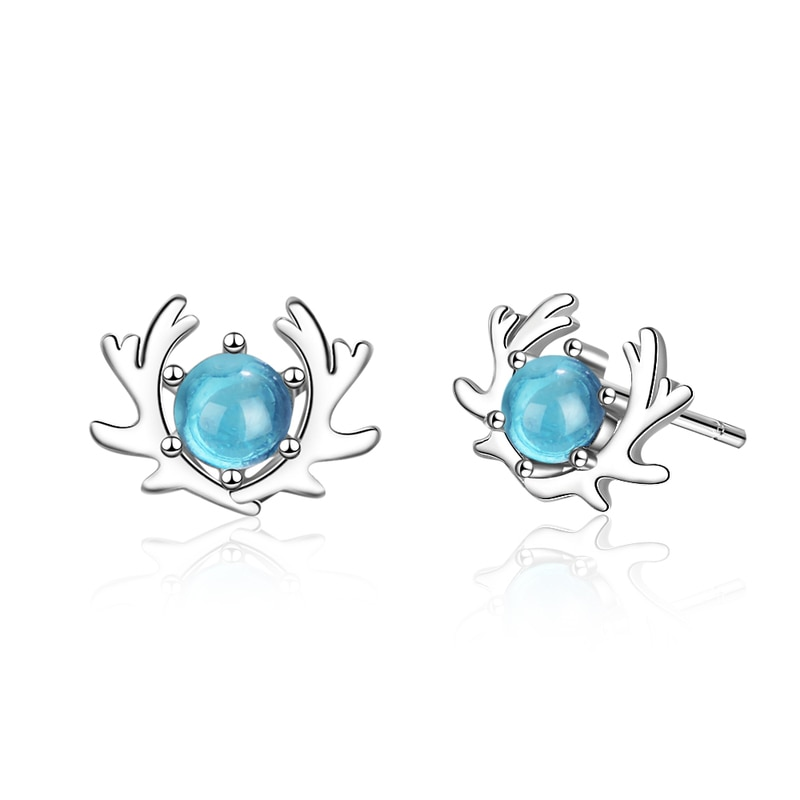 Everoyal Charm Crystal Blue Elk Earrings For Women Accessories Female Trendy Silver 925 Stud Girls Jewelry