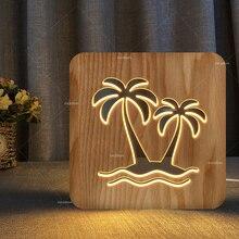 Créatif cocotiers conception en bois lampe lotus lumière chaude USB puissance unique cadeau salle éclairage décor