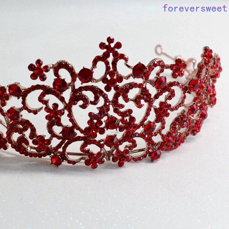 Bijoux de cheveux spécial diadème de mariée en cristal rouge pour diadème de mariées et couronnes