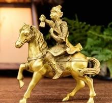 Un singe sculpté sur un cheval de 7   En cuivre et laiton de 7 pouces, promotion de sens pour une position supérieure