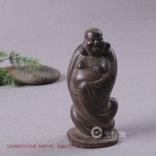 Ancienne sculpture sur bois de bouddha aloes   Vêtement à main, figure de bouddha riant, acte de maison, le rôle dobjet dégusté