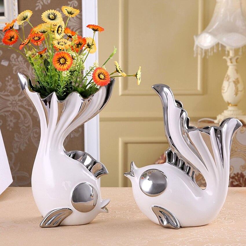 Juego de 2 unidades de florero decorativo para el hogar con diseño creativo de forma de pez, florero de cerámica para el comedor, adorno artesanal