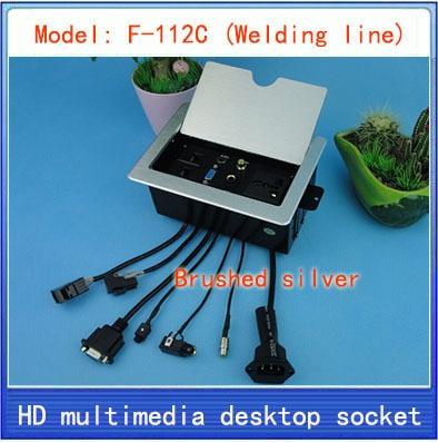 Enchufe/oculto/información multimedia caja tomacorriente/red RJ45 3,5 Audio video VGA MIC CABLE toma de interfaz de escritorio F-112C