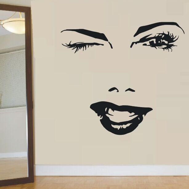 Hermosa mujer cara pared pegatina pestañas ojo guiños labios pared calcomanía chica pestañas y cejas pared Mural belleza salón Decoración AY882