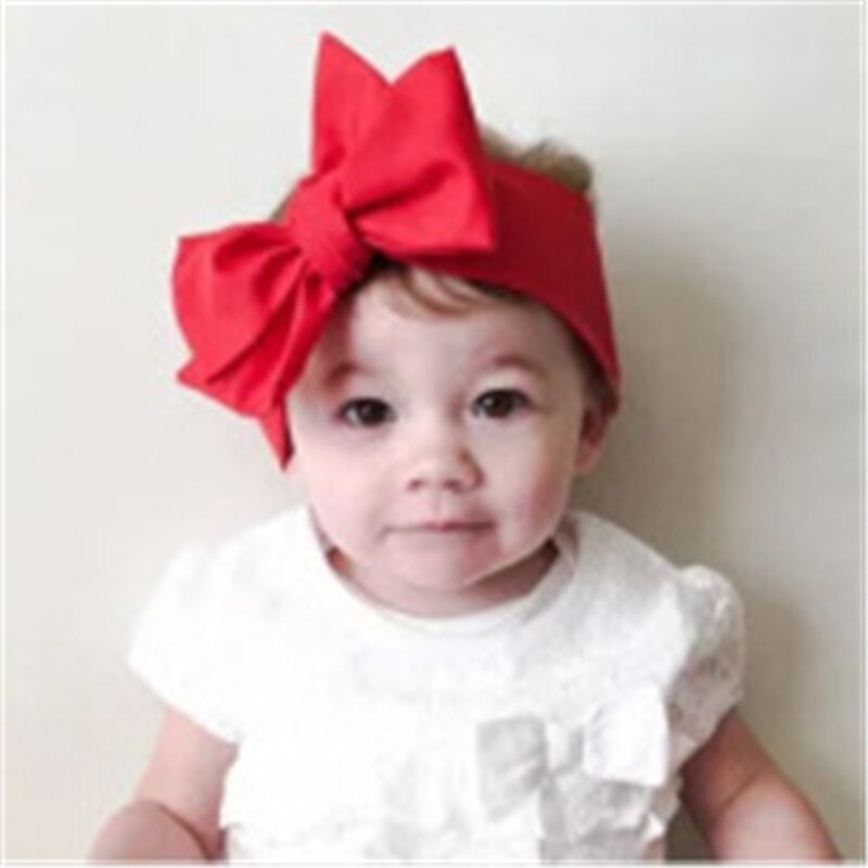 DIY lovely baby big bow Solid headwrap for kids bowknot hair accessories children cotton headband gi