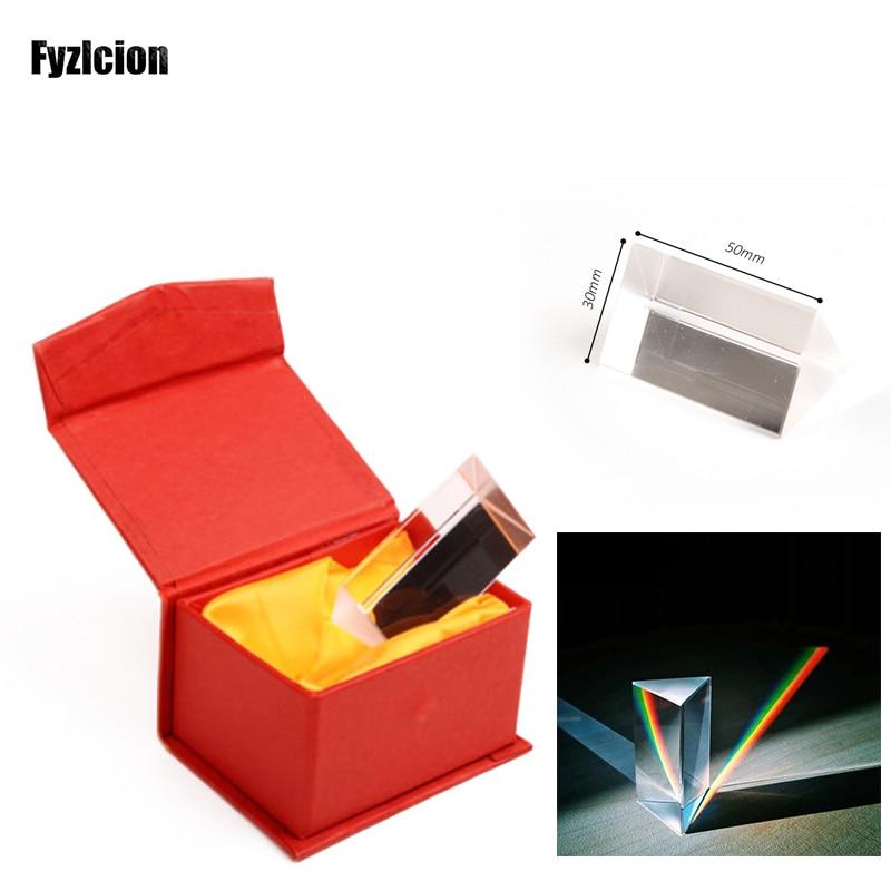 Cristal de prisma Triangular Triple equilátero de cristal óptico de 50mm para enseñar fotografía de espectro de luz o experimento óptico