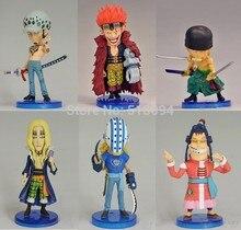 Anime une pièce Eustass Kid basilic Hawkins Trafalgar Law Apoo tueur Zoro PVC figurines à collectionner jouets 6 pièces/ensemble OPFG371