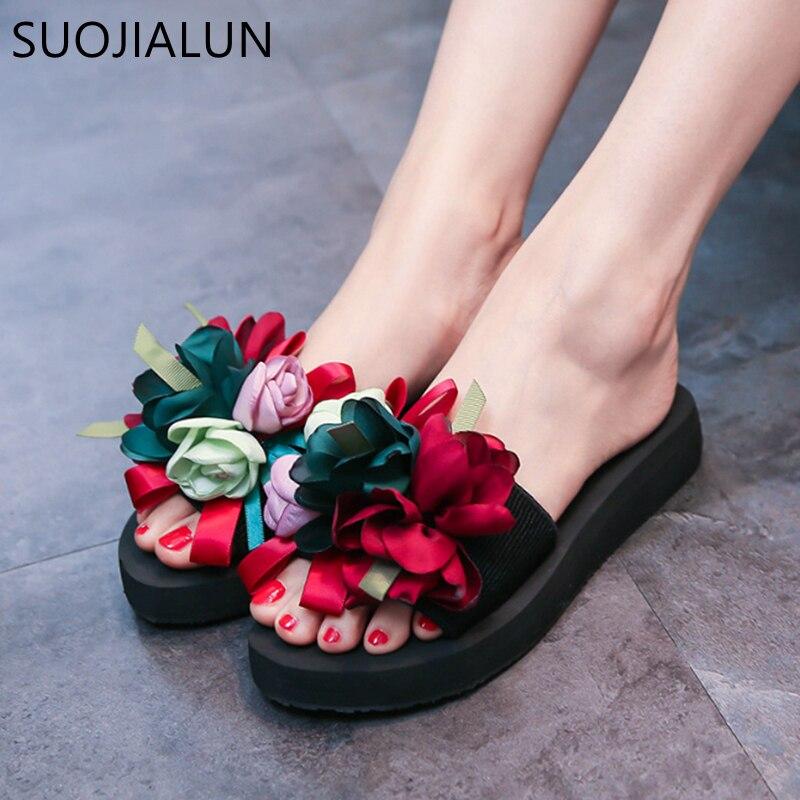 SUOJIALUN 2019, zapatos de verano para Mujer, chanclas de flores, zapatillas, sandalias exteriores, Sandalias planas de playa para Mujer, sandalias deslizantes