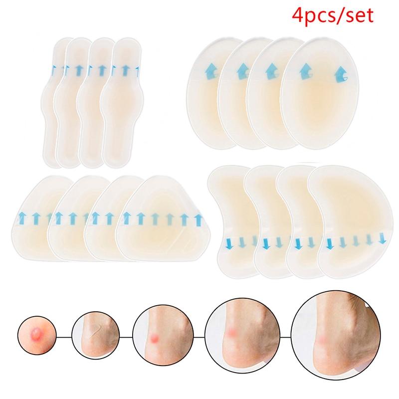4 pièces/ensemble talon Anti-usure talon autocollant adhésif hydrocolloïde Gel Blister plâtre pédicure Patch Silicone Gel souple talon autocollant
