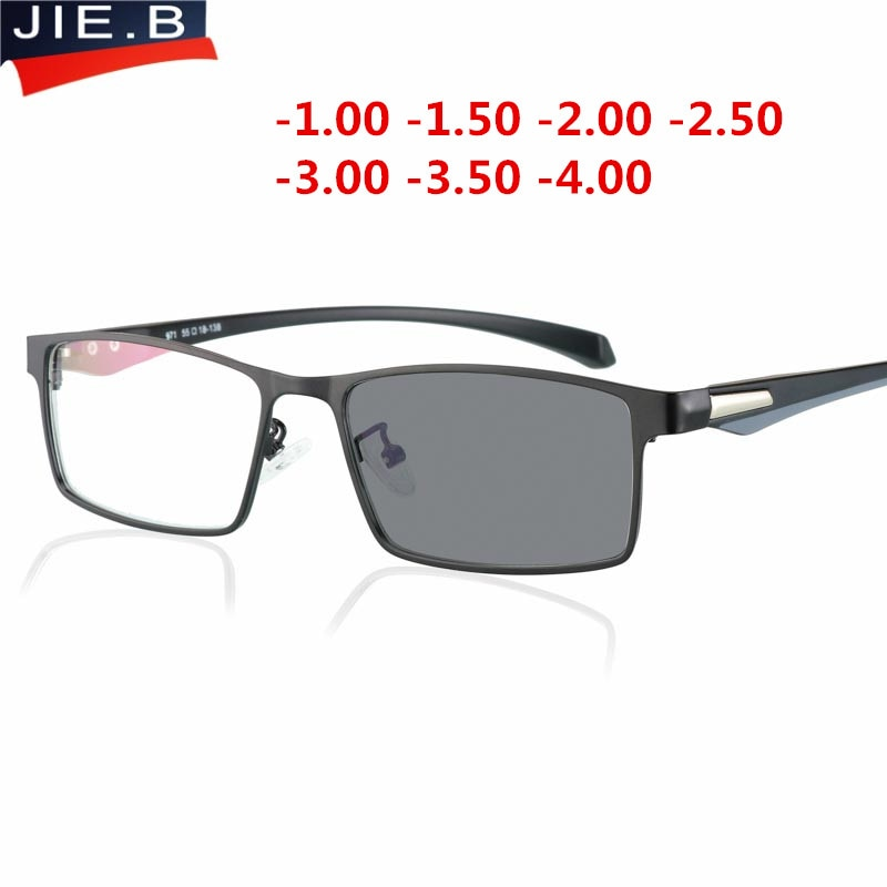2018, gafas fotocromáticas para miopía con borde completo, gafas ópticas para hombre, gafas para miopía con acabado para estudiantes, gafas graduadas con montura-1,0-4,0