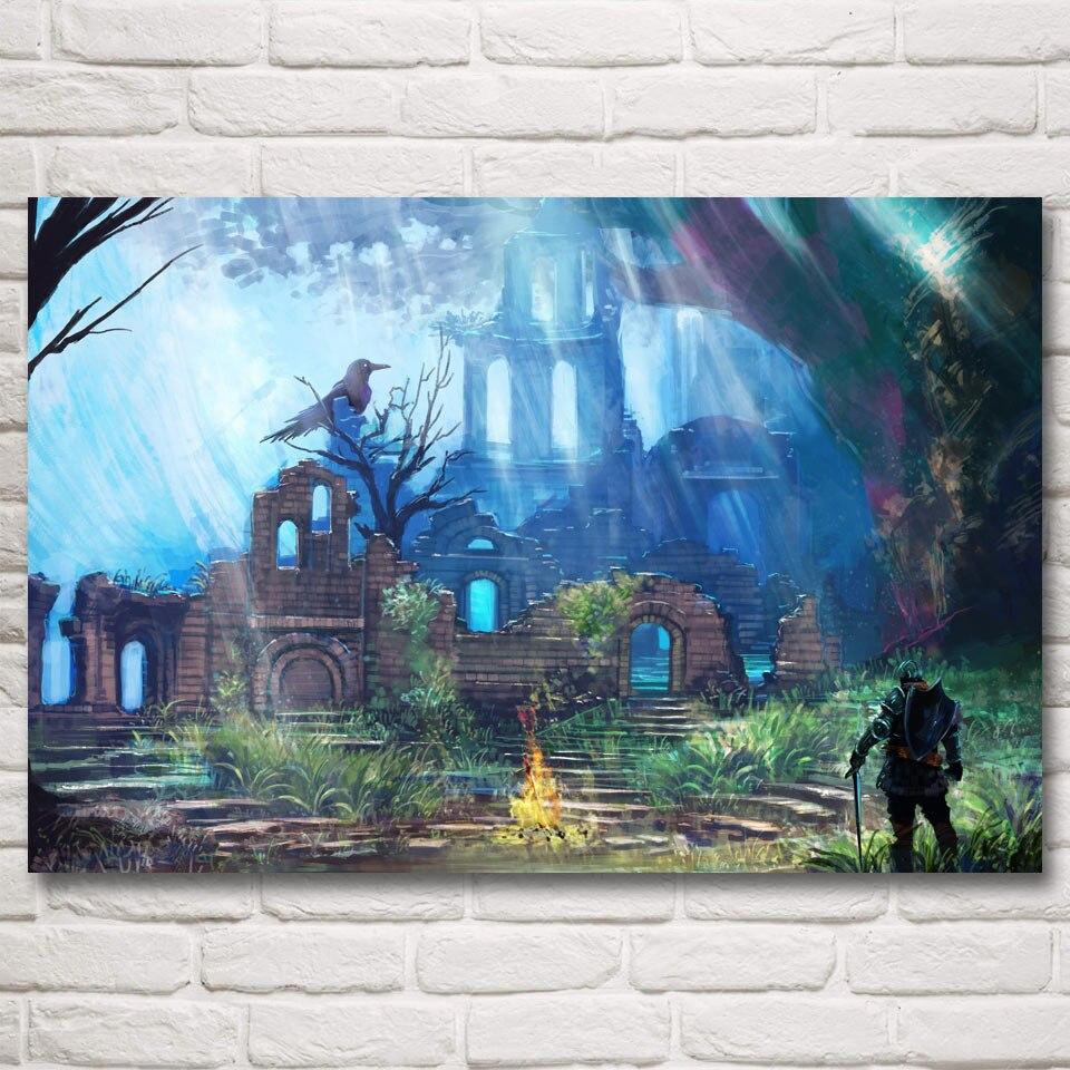 FOOCAME-affiche Art jeux vidéo   Affiche en soie imprimée dâmes foncées, peinture murale pour décoration de maison 12x18 16X24 20x30 24x36 32x48 pouces