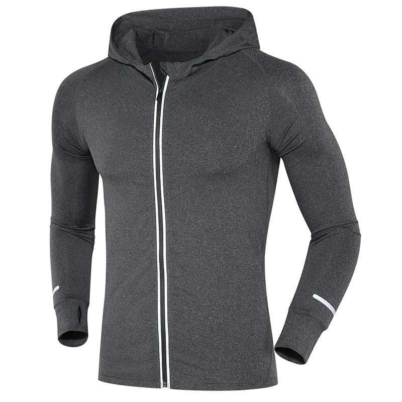 Nueva chaqueta reflectante elástica con cremallera para correr, para hombre, para baloncesto, Yoga, gimnasio, Fitness, chaqueta con capucha, chaqueta deportiva transpirable, Tops para hombre
