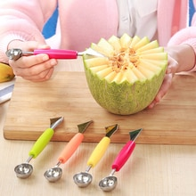 Lame de melon en acier inoxydable 2 en 1   Ustensile à découper pour pastèque, cuillère double face pour creuser les fruits, cuillère pour plateau et crème glacée