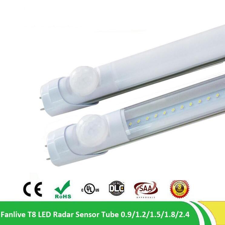 20 unids/lote LED Sensor de Radar de microondas T8 G13 tubo 18W LED 1200mm blanco CE ROHS T8 tubo integrado lámpara de tubo LED