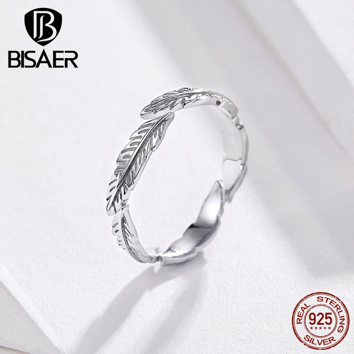 Anillo de plumas BISAER de Plata de Ley 925 con alas Vintage, anillos de dedo de plumas para mujer, joyería de plata de ley de tamaño ajustable ECR517