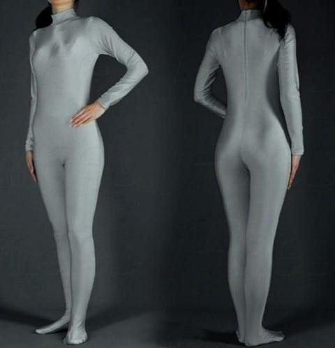 2015 traje de Carnaval gris plateado Zentai de LICRA adulto traje de carnaval o Halloween Catsuit Zentai body YKK Zip envío gratis