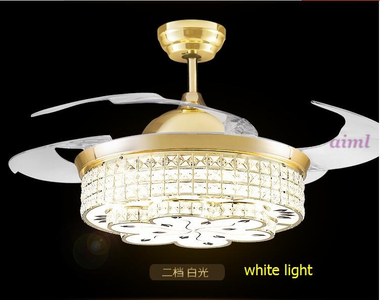3 color dimming contro k9 crystal LED ceiling fan lamp simple household bedroom living room 85-240V  - buy with discount