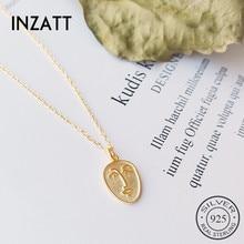 INZATT réel 925 en argent Sterling abstrait visage Design Vintage pendentif collier pour la mode femmes minimaliste bijoux cadeau