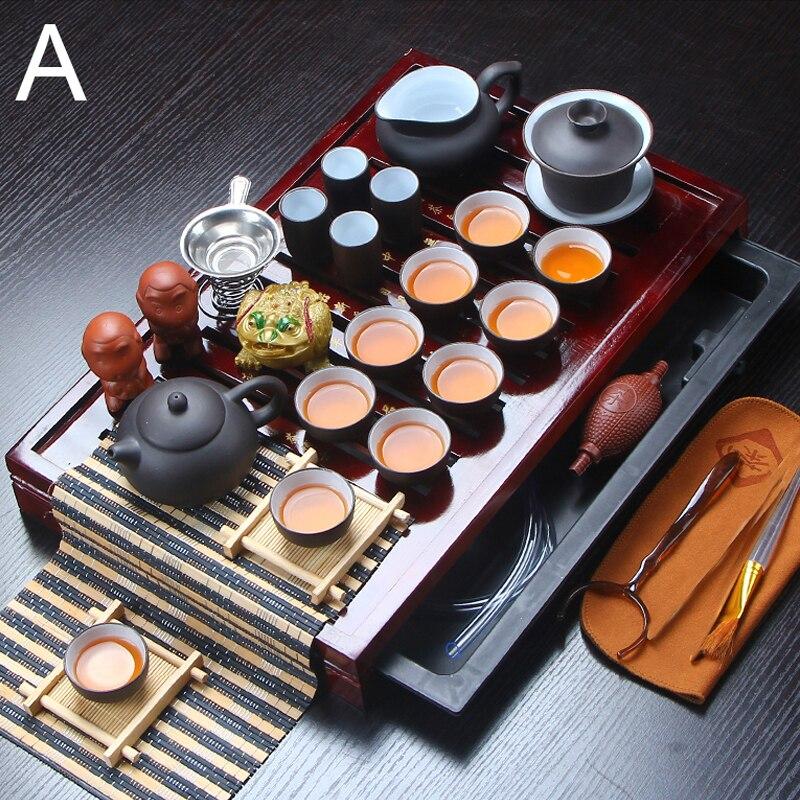 Peça de Cerâmica de Barro Jogo de Chá Xícaras de Chá Bandeja de Chá de Madeira Roxo Kung Pote Infusor Drinkware Sólida Bule Gaiwan Chinês High-grade fu 32