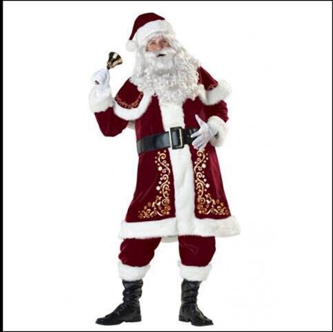 Conjunto completo de disfraces de Navidad de Santa Claus para adultos ropa de navidad roja disfraz de Santa Claus traje de lujo