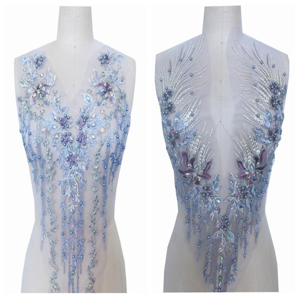 Apliques de encaje púrpura con diamantes de imitación cosidos a mano, parches de adornos de cristal de 60x33 cm/62x30 cm para accesorios de vestir